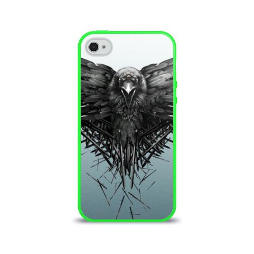 Чехол для Apple iPhone 4/4S силиконовый глянцевый Ворон