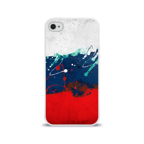 Чехол для Apple iPhone 4/4S силиконовый глянцевый Флаг