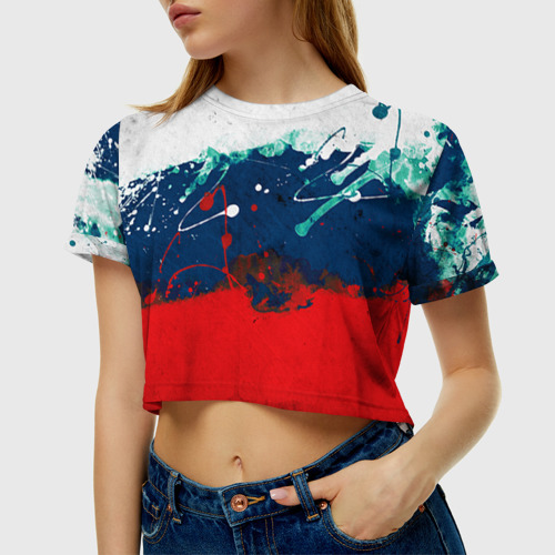 Женская футболка 3D укороченная Флаг
