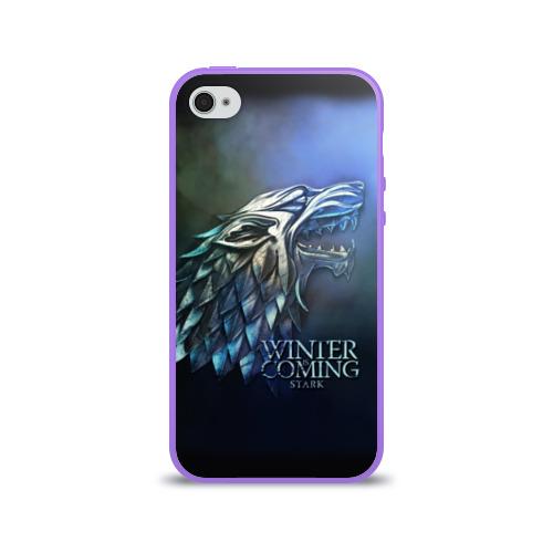 Чехол для Apple iPhone 4/4S силиконовый глянцевый Зима близко