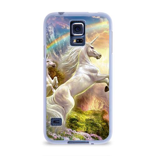 Чехол для Samsung Galaxy S5 силиконовый  Фото 01, Единороги