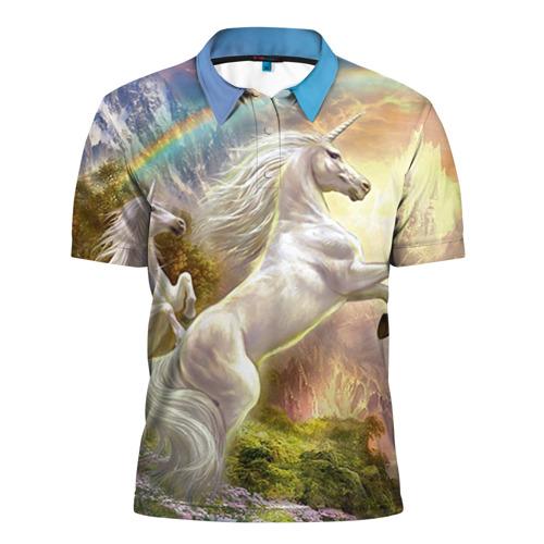 Мужская рубашка поло 3D Единороги
