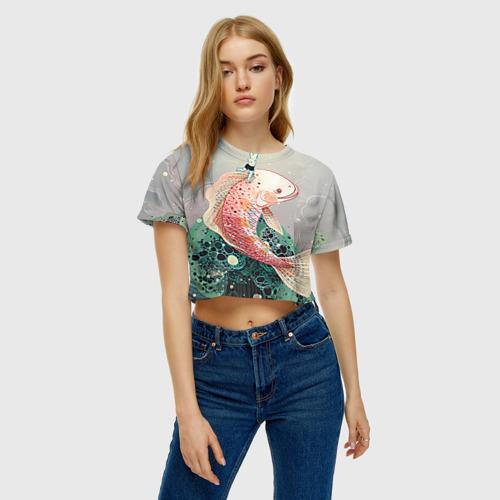 Женская футболка 3D укороченная  Фото 04, Рыба