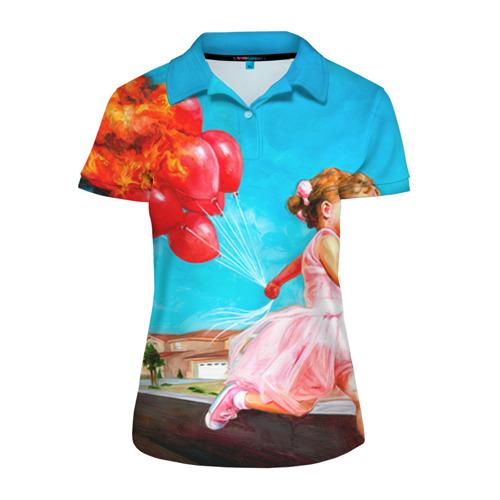 Женская рубашка поло 3D Девочка с шариками