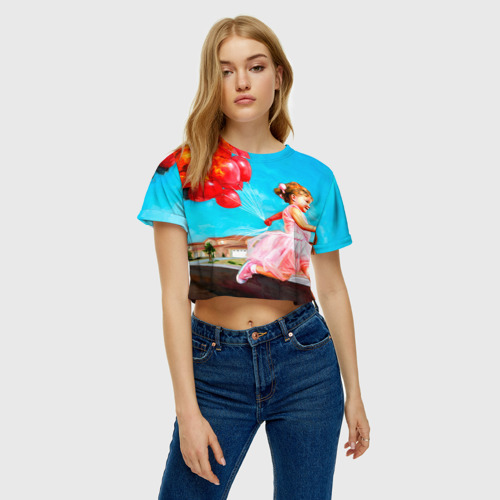 Женская футболка 3D укороченная Девочка с шариками