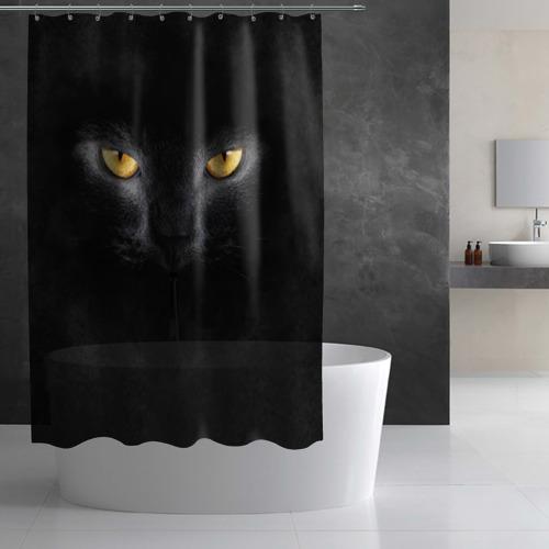 Штора 3D для ванной Черная кошка Фото 01