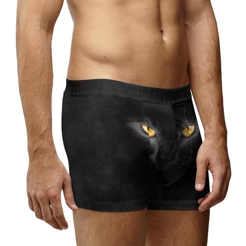 Мужские трусы 3D Черная кошка Фото 01