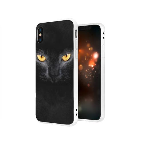 Чехол для iPhone X матовый Черная кошка Фото 01