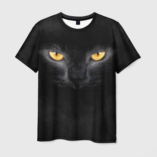 Мужская футболка 3D Черная кошка