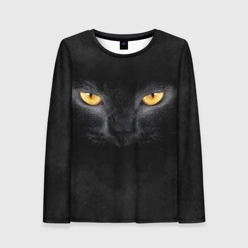 Женский лонгслив 3D Черная кошка Фото 01