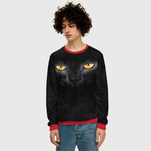 Мужской свитшот 3D Черная кошка Фото 01