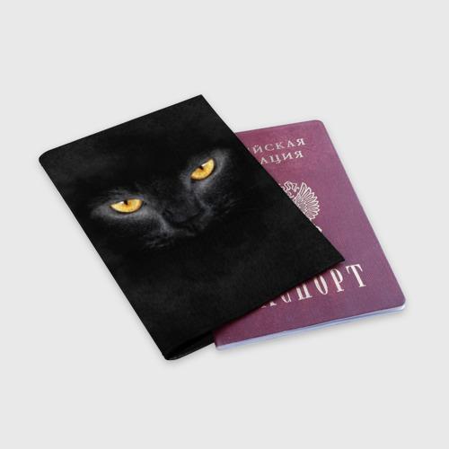 Обложка для паспорта матовая кожа Черная кошка Фото 01