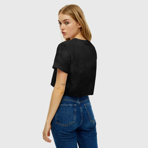 Женская футболка Crop-top 3D Черная кошка Фото 01