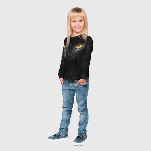 Детский лонгслив 3D Черная кошка Фото 01