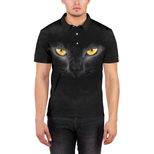 Мужская рубашка поло 3D Черная кошка Фото 01