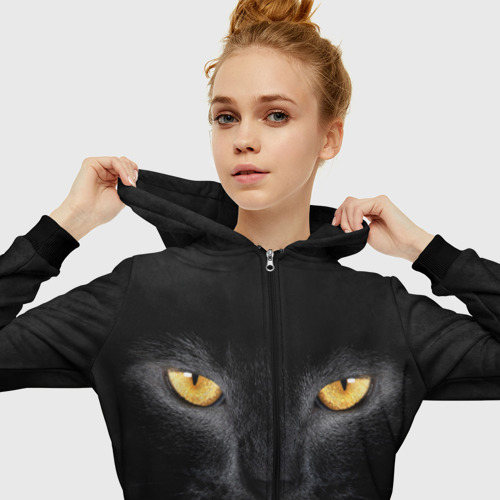 Женская толстовка 3D на молнии Черная кошка Фото 01