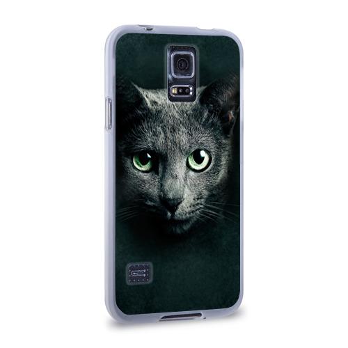 Чехол для Samsung Galaxy S5 силиконовый  Фото 02, Серый кот