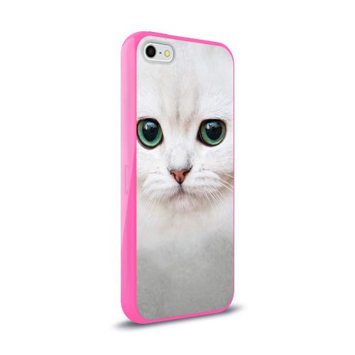 Чехол для Apple iPhone 5/5S силиконовый глянцевый  Фото 02, Белый котик