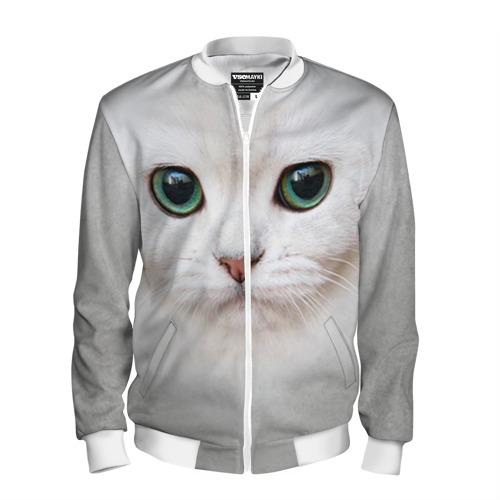 Мужской бомбер 3D Белый котик