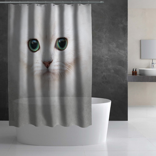 Штора 3D для ванной Белый котик Фото 01
