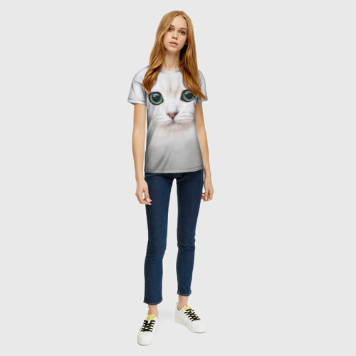 Женская футболка 3D Белый котик Фото 01