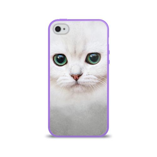 Чехол для Apple iPhone 4/4S силиконовый глянцевый Белый котик Фото 01