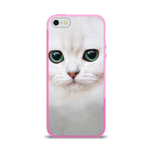 Чехол для Apple iPhone 5/5S силиконовый глянцевый  Фото 01, Белый котик