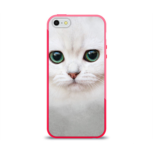 Чехол для iPhone 5/5S глянцевый Белый котик Фото 01