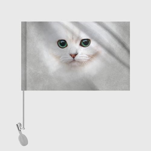 Флаг для автомобиля Белый котик Фото 01