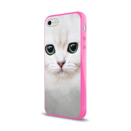 Чехол для Apple iPhone 5/5S силиконовый глянцевый  Фото 03, Белый котик