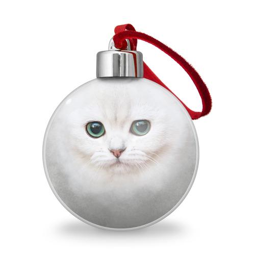 Ёлочный шар Белый котик Фото 01