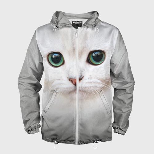 Мужская ветровка 3D Белый котик Фото 01