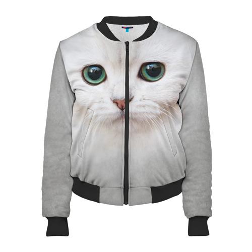 Женский бомбер 3D Белый котик