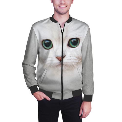 Мужской бомбер 3D Белый котик Фото 01