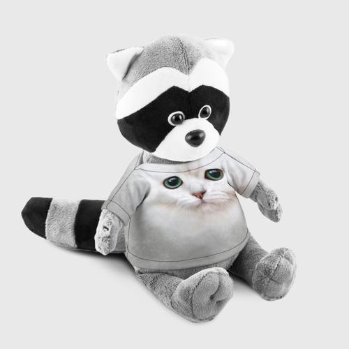 Енотик в футболке 3D Белый котик Фото 01