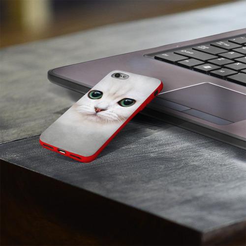 Чехол для Apple iPhone 8 силиконовый глянцевый Белый котик Фото 01