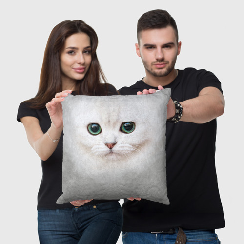 Подушка 3D Белый котик Фото 01