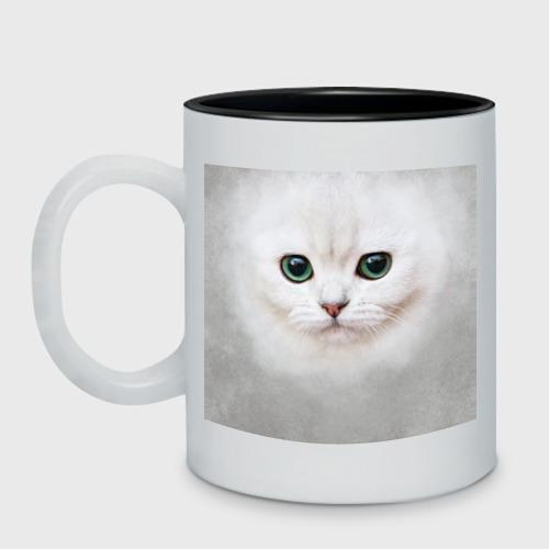 Кружка двухцветная Белый котик Фото 01