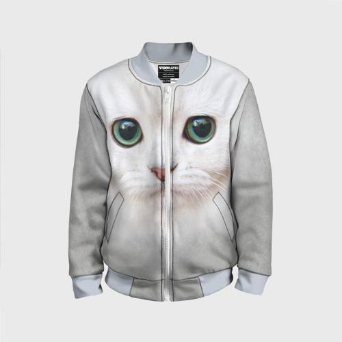 Детский бомбер 3D Белый котик