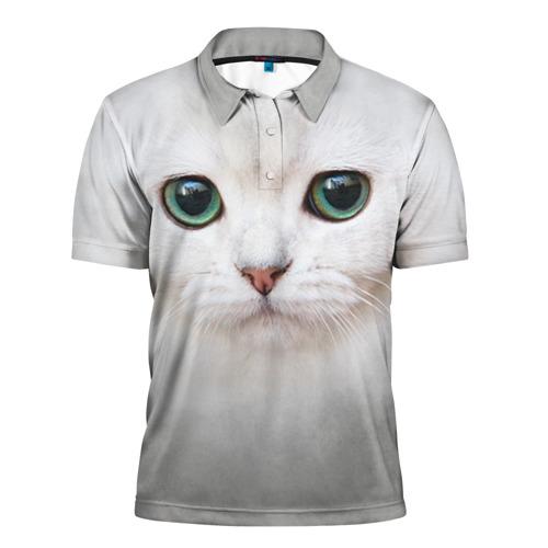 Мужская рубашка поло 3D Белый котик