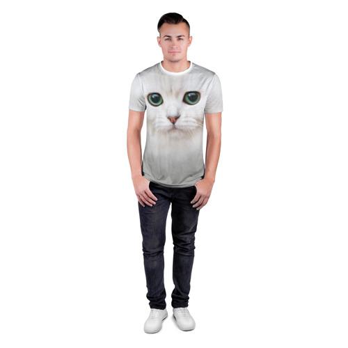 Мужская футболка 3D спортивная Белый котик Фото 01