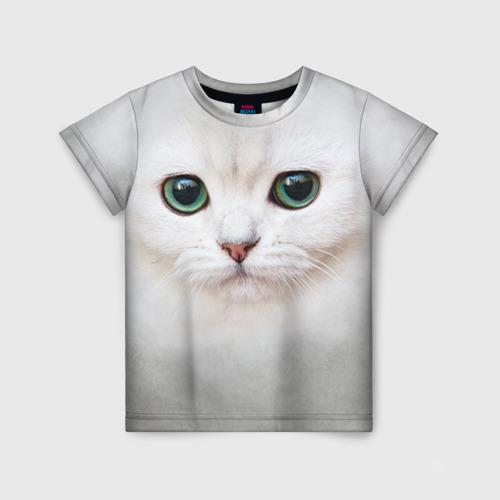 Детская футболка 3D Белый котик Фото 01