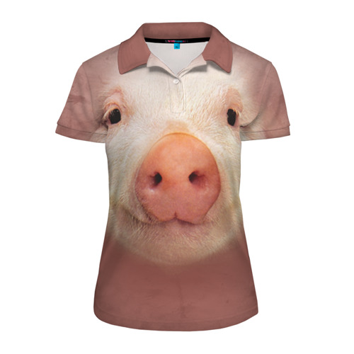 Женская рубашка поло 3D Хрюшка
