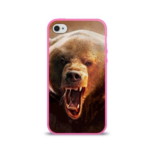 """Чехол силиконовый глянцевый для Apple iPhone 4 """"Медведь рычащий"""" - 1"""