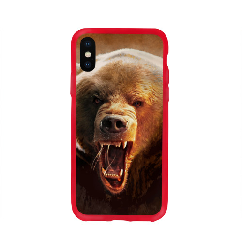 Чехол для iPhone X глянцевый Медведь Фото 01