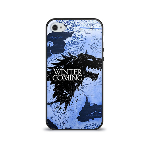 Чехол для Apple iPhone 4/4S силиконовый глянцевый Winter is coming от Всемайки