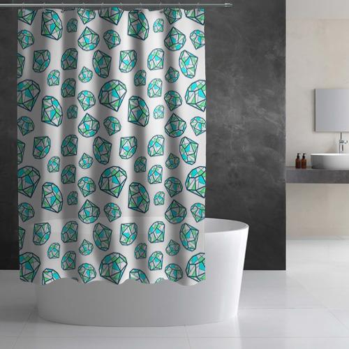 Штора 3D для ванной Бриллианты Фото 01