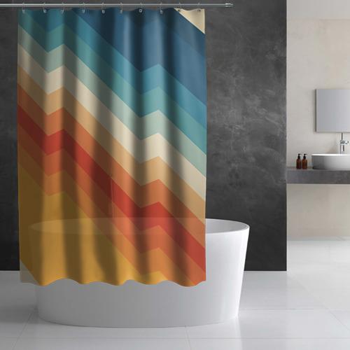 Штора 3D для ванной Полосы Фото 01