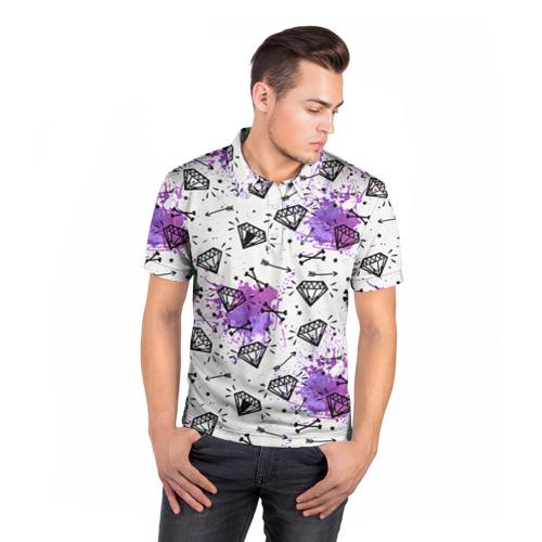 Мужская рубашка поло 3D  Фото 05, Стрелы и алмазы