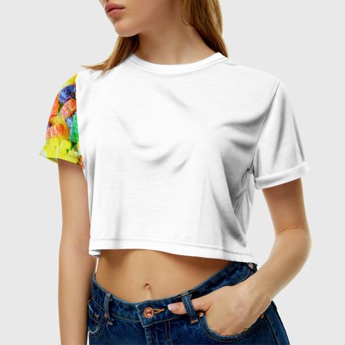 Женская футболка 3D укороченная  Фото 01, Мармеладные мишки